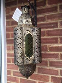 Intricate Moroccan style metal fretwork hanging lantern new
