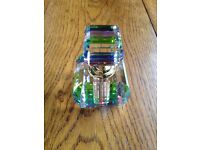 Square Crystal Design Perfume Bottle & Wand Rainbow & Clear Crystal Glass 4103