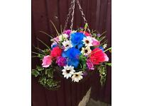 Silk flower hanging basket new