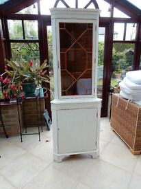 Shabby Chic Solid Wood Corner Display Cabinet( Reduced for Quick Sale)