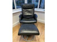 Leather reclining swivel chair + footstool