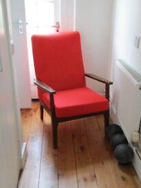vintage retro armchair in pimento red