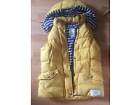 Joules Yellow lightweight Bodywarmer Gilet blue and white stripe hood