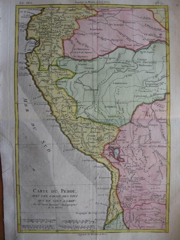 BONNE - Map PERU ECUADOR BOLIVIA c1780