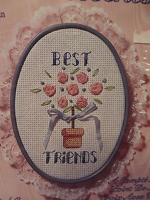 Silk Accents BEST FRIENDS w/ Hoop-Cross Stitch Kit