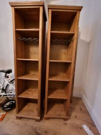 2 x Bookcases with bottle racks