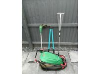 Garden items - mower, strimmer, rake, edger