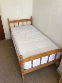 Pine single bed frame and mattress (bed 2). Dismantle and collect only
