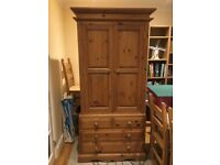 Solid wood wardrobe with chest of drawers
