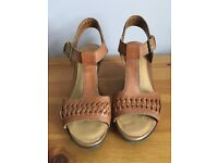 Clarks Tan leather wedge sandals