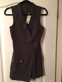 Ladie's Khaki Size 8 Miss Selfridge Playsuit with buckle detail, new unworn with tags