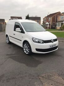 "VW Caddy Van Custom 1.6 TDI 2012 white 18"" Alloys Colour coded bumpers carpet lined"