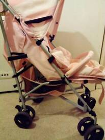 Billie faiers pink and white striped stroller