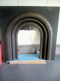 BEAUTIFUL VICTORIAN FIREPLACE INSERT and FIREBACK