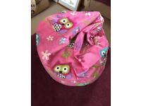 Kaikoo pink owl beanbag
