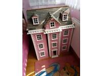 Gorgeous big wooden doll play house pink white