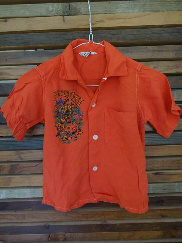 VTG 50s DAVY CROCKETT Small Boys ATOMIC Rockabilly RAYON LOOP COLLAR Shirt