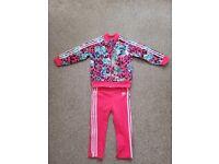 Adidas Girls Tracksuit, Age 2-3