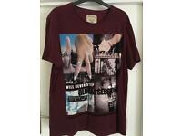Burton Menswear Burgandy t-shirt size M