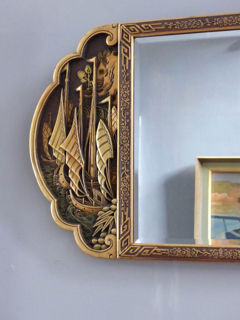 Large Antique Chinese Wall Mirror Carved And Lacquered