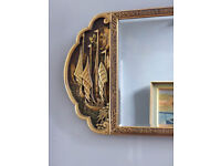"""Large Antique Chinese Wall Mirror. Carved and Lacquered Wood. Gold Black 24"""" x 36"""""""