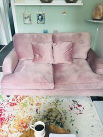 2 seater dusky pink velvet sofa