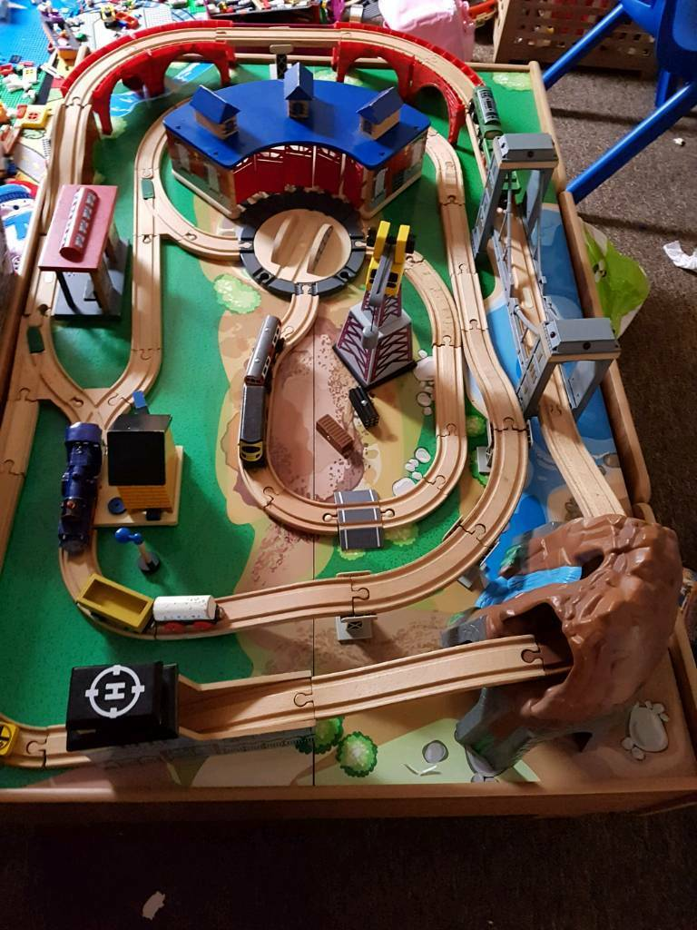 Train table track box and trains
