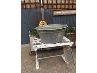 Huge vintage galvanised metal Tin bath planter pond wedding garden prop