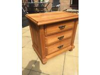 Pine wood bedside cabinet with three drawers