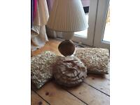 Cream /gold lamp and cushion bundle