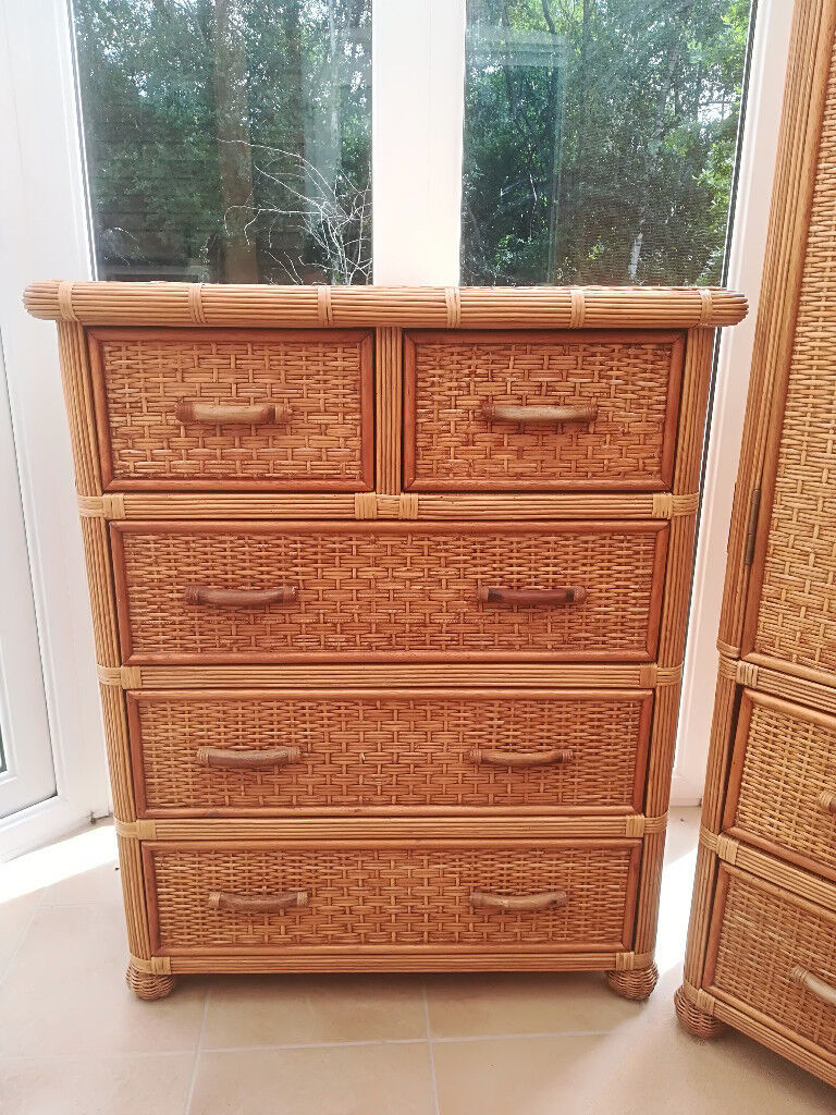 The Pier Wicker Wardrobe 5 Chest Drawer And Bedside Table