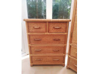 The Pier Wicker Wardrobe, 5 Chest Drawer and Bedside table