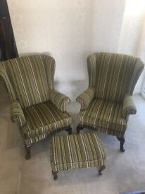 2 Parker Knoll wingback armchairs with footstool