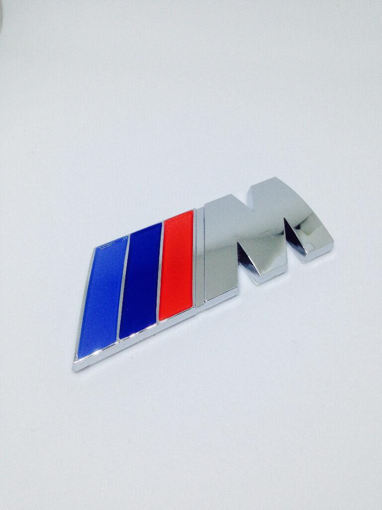 bmw m sport m power chrome style rear boot badge emblem 1. Black Bedroom Furniture Sets. Home Design Ideas