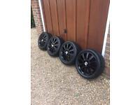 "Vauxhall alloy wheels 16"" gloss black 4 stud 4x100"