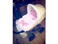 Silver cross white and pink leather pram