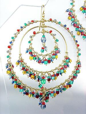 EXQUISITE Aquamarine Red Garnet Multi Crystals Gold Rings Chandelier Earrings LG Multi Crystal Chandelier Earrings