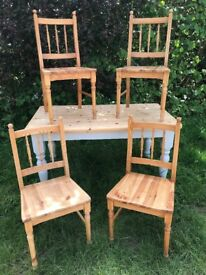 Vintage farm house table and 4 chairs.