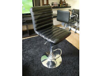 Black leather/chrome bar stool