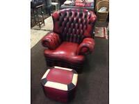 Chesterfield leather wingback chair
