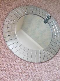 Round circular silver tiled wall mirror