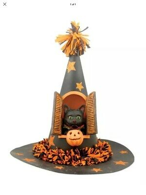 Bethany Lowe Halloween Black Cat In A Witch's Hat--Retired