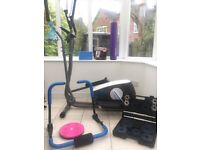 home gym equipment - cross trainer, weights and yoga