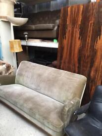 Vinrage retro Danish Art Deco style pale green velvet 3 seater sofa couch
