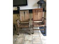 2 Hartman Solid Teak Reclining Chair & full cushions possible local del