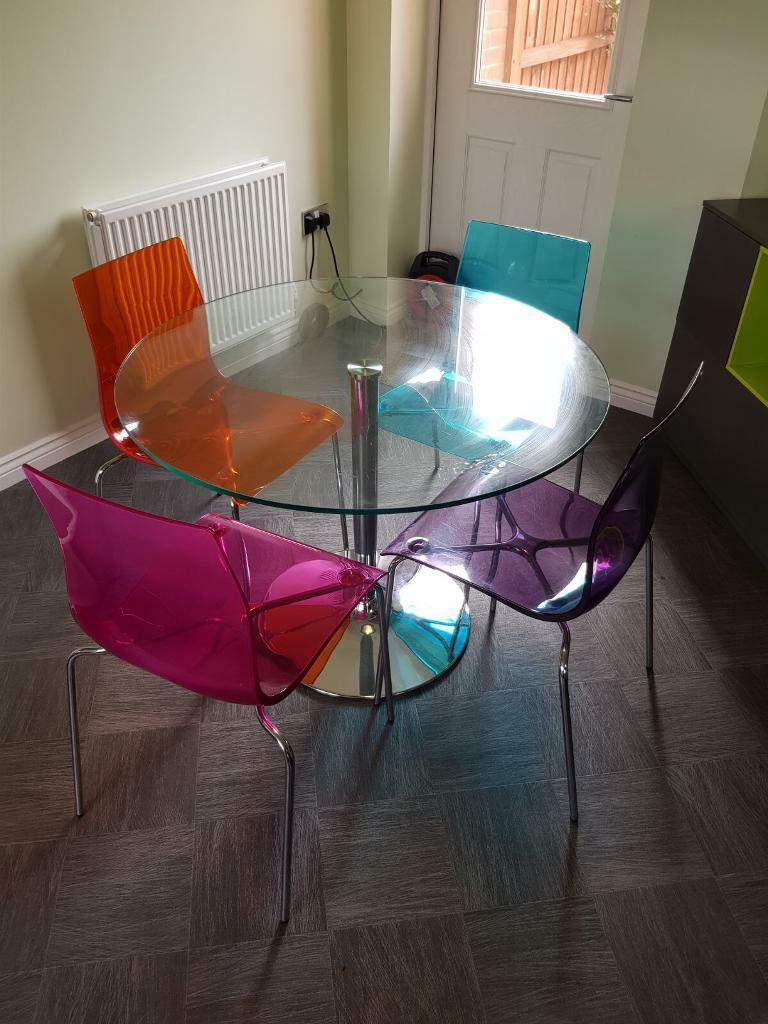 REDUCED John Lewis glass table and 4 multi colour acrylic gel chairs  in Dereham, Norfolk  Gumtree