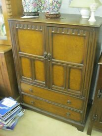 VINTAGE ORNATE CABINET. TWIN DOOR CABINET OVER 2 DEEP DRAWERS. VERSATILE LOCATION USAGE. DELIVERY