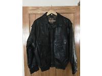 Mens Leather Jacket - Size Large (L) - Black