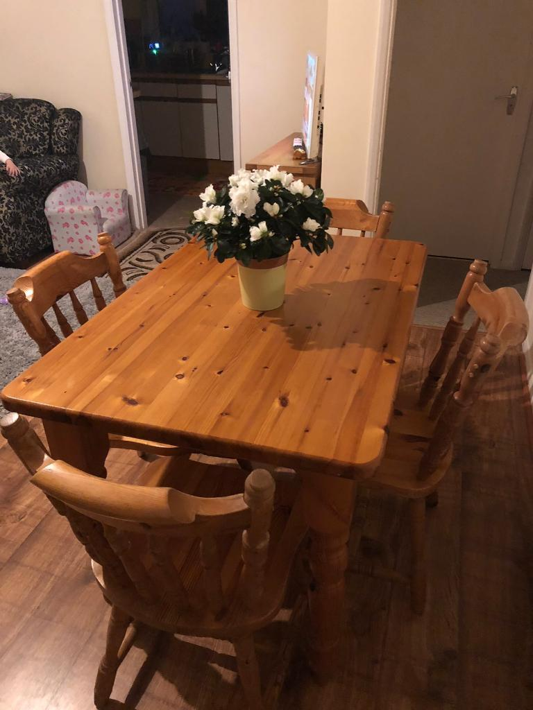 Old Farmhouse Dining Table And Four Chairs