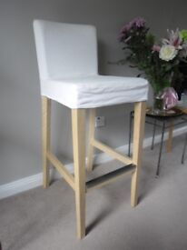 IKEA TALL HIGH BACKED CHAIR IN LIGHT WOOD
